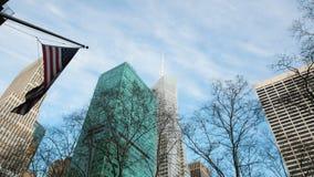 USA Flag waving on Manhattan - New York City. Wide angle stock video