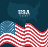 USA flag waving map country stamp design. Vector illustration Stock Photography