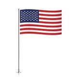 USA flag waving on a metallic pole. United states of America vector flag template. Waving USA flag on a metallic pole, isolated on a white background Stock Images