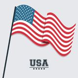 USA flag waving symbol celebraton patriotism design. Vector illustration Royalty Free Stock Photography