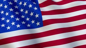 USA flag waving in the wind - animated stock video footage