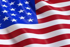 The USA flag, waving in the wind royalty free stock photography