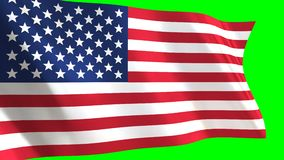 USA Flag waving in the wind. Looped animation on green background stock footage