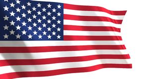 USA Flag waving in the wind. Looped animation on white background stock video footage