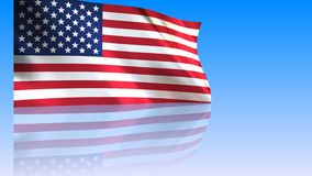 USA Flag waving in the wind. With reflection - looped animation on white background stock video footage