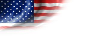 USA flag on white background. With copy space Royalty Free Stock Image