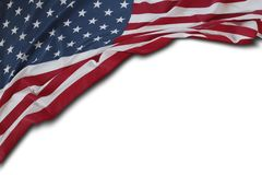USA flag on white. Closeup of American flag on white background Royalty Free Stock Photography