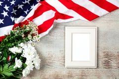 USA flag on wood background. USA flag on white wood background royalty free stock photo