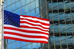 USA flag on windows background. USA flag on windows building background Royalty Free Stock Photo