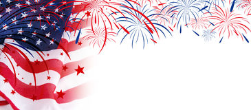 Free USA Flag With Fireworks On White Background Stock Photography - 92047082