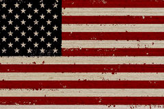 USA flag wood background. USA, American flag painted on old wood plank background Stock Photography