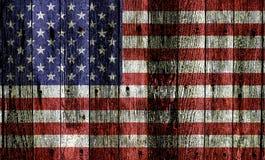 Usa Flag On Wood stock photos