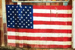 USA Flag on wooden Stock Photo