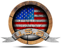 USA Flag - Wooden Icon Royalty Free Stock Images