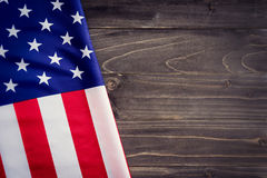 USA flag on wooden wall background and texture with space Royalty Free Stock Images