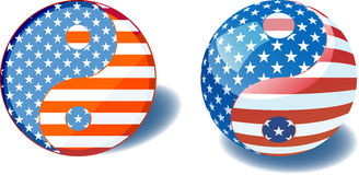 USA flag yin yang Stock Photo