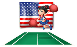 The USA flag and the young cheerdancer. Illustration of the USA flag and the young cheerdancer on a white background Stock Images