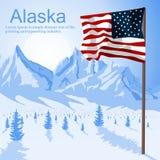 Usa flaga amerykańskiej lampasy na góry Alaska tle i gwiazdy ilustracji