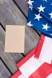 USA flaga i rzemiosło koperta, odgórny widok Obrazy Stock