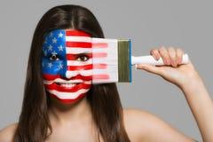 Usa flaga malująca na twarzy Zdjęcie Royalty Free
