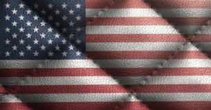 USA flaga na rzemiennej teksturze Zbliżenie Stany Zjednoczone Ameryka flaga Fotografia Stock