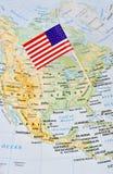 USA flaga szpilka na mapie wskazuje Waszyngton obrazy royalty free