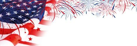 USA flaga z fajerwerkami Obrazy Stock