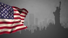 USA flaga z statuy wolności sylwetką ilustracja wektor