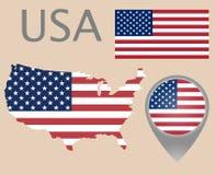 USA flagga, översikt och översiktspekare royaltyfri illustrationer
