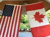 USA flagga Kanada royaltyfri fotografi