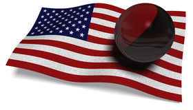 USA flagga med en Antifa flagga i en boll Arkivfoton