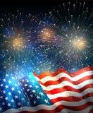 USA flagga med fyrverkerier Royaltyfria Foton