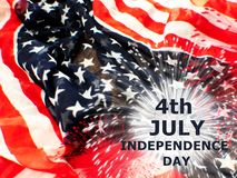 USA flagga med fyrverkerier på vit bakgrund arkivbilder