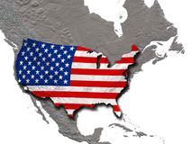 USA flagga med skugga ovanför den Nordamerika kontinenten stock illustrationer
