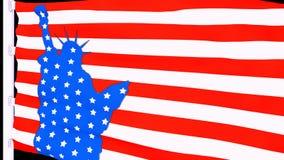 USA flagga med statyn av frihet royaltyfri illustrationer
