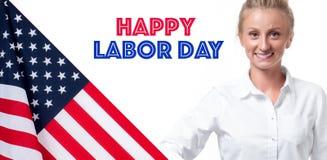 USA flagga och affärskvinna på vit bakgrund lyckligt arbete för dag royaltyfria bilder