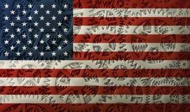 USA-flagga och kugghjuldesignen Arkivbilder