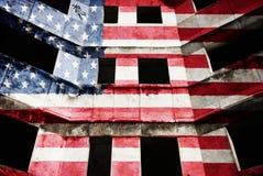 USA flagga på fasaden arkivbilder