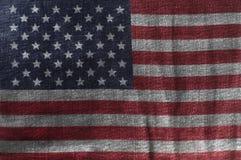 USA flagga på jeansgrov bomullstvilltextur Closeup av Amerikas förenta staterflaggan royaltyfri illustrationer