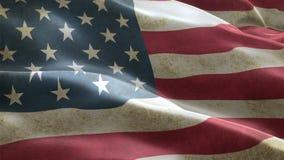 USA flagga som vinkar i sömlöst kretsa för vindbakgrundsanimering stock video