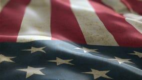 USA flagga som vinkar i sömlöst kretsa för vindbakgrundsanimering arkivfilmer