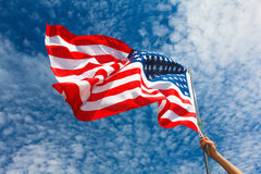 USA flaggabakgrund, 4th av det Juli självständighetsdagensymbolet Royaltyfria Foton