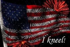 USA FLAGGAN med knäfaller jag Royaltyfria Bilder