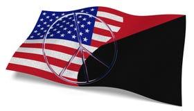 USA flaggan och en Antifa sjunker med ett fredtecken Royaltyfri Bild