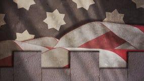 USA-flaggavågor och Merlons Royaltyfria Bilder