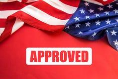 USA-Flagge auf Tabelle Amerikanisches Visumskonzept lizenzfreies stockbild