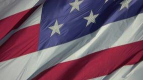 USA-Flagge der Vereinigten Staaten von Amerika, die herein durchbrennt, wickeln oben nah stock footage