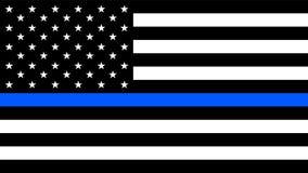 USA-Flagge mit einer dünnen blauen Linie stock abbildung