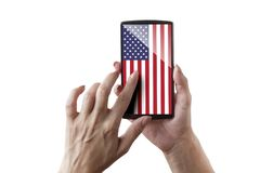 USA flagged screen. Woman is touching the flagged screen stock images