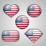 USA-Flaggenikonen Lizenzfreies Stockbild